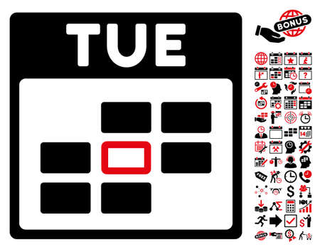 syllabus: Tuesday Calendar Grid pictograph with bonus calendar and time management symbols. Glyph illustration style is flat iconic symbols, intensive red and black, white background.