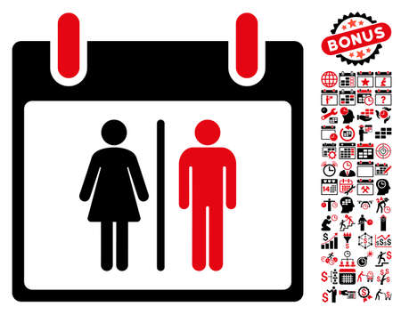 water closet: Water Closet Calendar Day pictograph with bonus calendar and time management pictures. Glyph illustration style is flat iconic symbols, intensive red and black, white background. Stock Photo