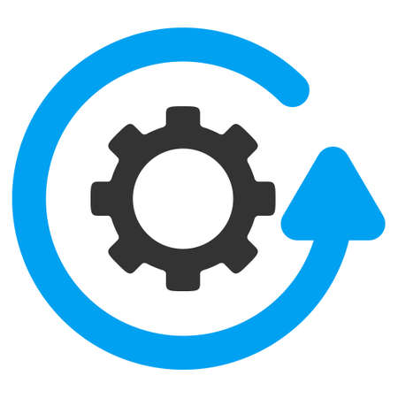synchronize: Gearwheel Rotation Direction glyph pictogram. Style is flat graphic bicolor symbol, blue and gray colors, white background. Stock Photo