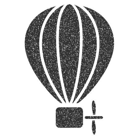 air baloon: Aerostat Balloon grainy textured icon for overlay watermark stamps. Flat symbol with unclean texture. Dotted glyph gray ink rubber seal stamp with grunge design on a white background.