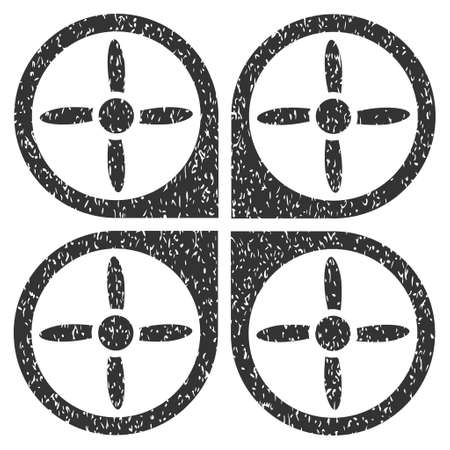 Copter grainy textured icon for overlay watermark stamps. Flat symbol with dust texture. Dotted glyph gray ink rubber seal stamp with grunge design on a white background. Stock Photo