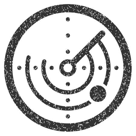 localization: Radar grainy textured icon for overlay watermark stamps. Flat symbol with scratched texture. Dotted glyph gray ink rubber seal stamp with grunge design on a white background.