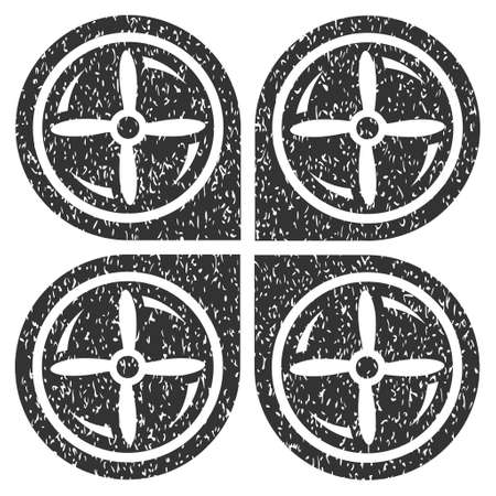 airflight: Nanocopter Screws Rotaion grainy textured icon for overlay watermark stamps. Flat symbol with unclean texture. Dotted glyph gray ink rubber seal stamp with grunge design on a white background.