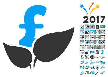 agriculture icon: Agriculture Pound Startup icon with bonus 2017 new year pictures. Glyph illustration style is flat iconic symbols,modern colors.
