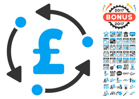 synchronize: Pound Rotation pictograph with bonus 2017 new year pictures. Glyph illustration style is flat iconic symbols,modern colors.