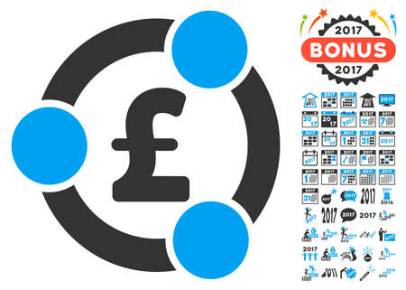 Pound Financial Collaboration pictograph with bonus 2017 new year icon set. Glyph illustration style is flat iconic symbols,modern colors.