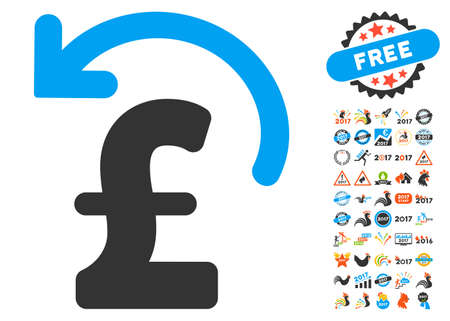 reverse: Undo Pound Payment pictograph with bonus 2017 new year symbols. Glyph illustration style is flat iconic symbols,modern colors.