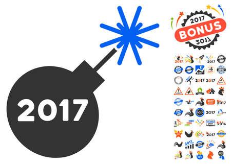 detonator: 2017 Fireworks Detonator icon with bonus 2017 new year icon set. Glyph illustration style is flat iconic symbols,modern colors.