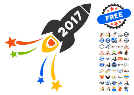2017 fireworks rocket pictograph with bonus 2017 new year clip art glyph illustration style is