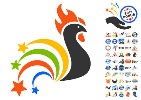 festival rooster pictograph with bonus 2017 new year clip art glyph illustration style is flat