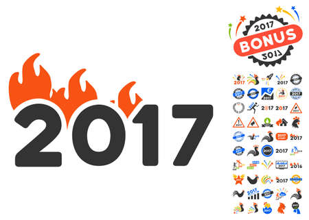 Fired 2017 Year pictograph with bonus 2017 new year images. Glyph illustration style is flat iconic symbols,modern colors.