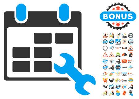 cronograma: Configurar icono de calendario con el bono 2017 colección pictograma nuevo año. estilo de ilustración glifo es símbolos icónicos planas, colores modernos.