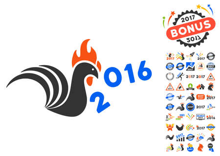 banish: Rooster Banish 2016 Year pictograph with bonus 2017 new year pictograph collection. Glyph illustration style is flat iconic symbols,modern colors.