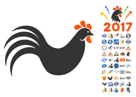 Rooster pictograph with bonus 2017 new year pictures. Glyph illustration style is flat iconic symbols,modern colors.