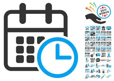 cronograma: icono de calendario con el bono 2017 conjunto de iconos nuevo año. estilo de ilustración glifo es símbolos icónicos planas, colores modernos. Foto de archivo