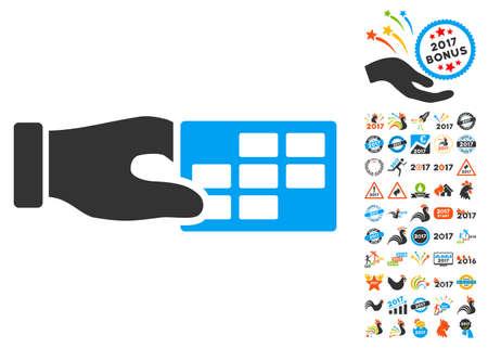 cronograma: Propiedades del calendario icono con bono 2017 colección pictograma nuevo año. estilo de ilustración glifo es símbolos icónicos planas, colores modernos. Foto de archivo