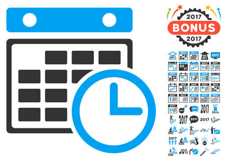 timetable: Timetable pictograph with bonus 2017 new year pictures. Glyph illustration style is flat iconic symbols,modern colors.