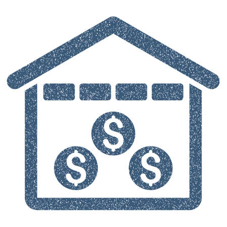 depository: Money Depository grainy textured icon for overlay watermark stamps. Flat symbol with dust texture. Dotted glyph blue ink rubber seal stamp with grunge design on a white background.