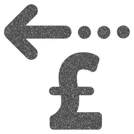 moneyback: Refund Pound grainy textured icon for overlay watermark stamps. Flat symbol with dust texture. Dotted vector gray ink rubber seal stamp with grunge design on a white background.