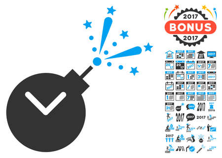 Time Fireworks Charge icon with bonus 2017 new year symbols. Glyph illustration style is flat iconic symbols,modern colors.