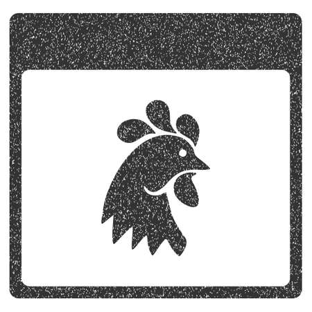 animal heads: Rooster Head Calendar Page grainy textured icon for overlay watermark stamps. Flat symbol with dirty texture. Dotted glyph gray ink rubber seal stamp with grunge design on a white background.