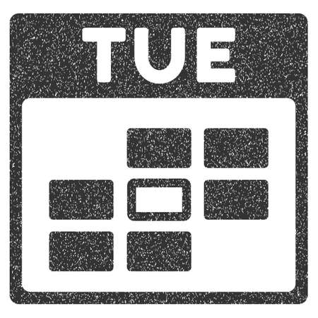 tuesday: Tuesday Calendar Grid grainy textured icon for overlay watermark stamps. Flat symbol with unclean texture. Dotted glyph gray ink rubber seal stamp with grunge design on a white background.