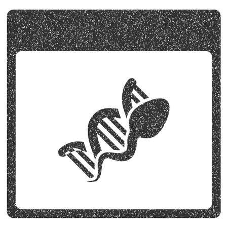 replication: Sperm DNA Replication Calendar Page grainy textured icon for overlay watermark stamps. Flat symbol with unclean texture. Stock Photo