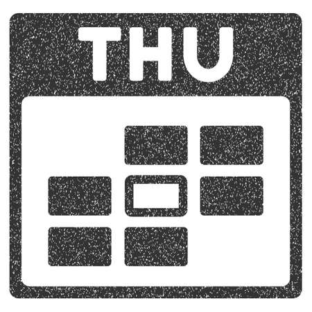thursday: Thursday Calendar Grid grainy textured icon for overlay watermark stamps. Flat symbol with scratched texture. Dotted glyph gray ink rubber seal stamp with grunge design on a white background. Stock Photo
