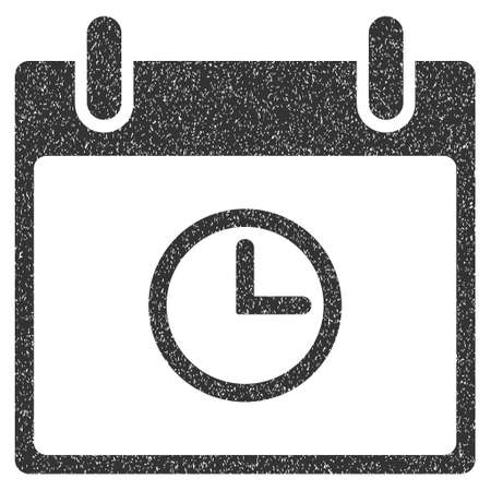 clockface: Time Calendar Day grainy textured icon for overlay watermark stamps. Flat symbol with unclean texture. Dotted glyph gray ink rubber seal stamp with grunge design on a white background. Stock Photo