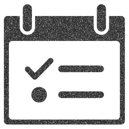 todo list: Todo List Calendar Day grainy textured icon for overlay watermark stamps. Flat symbol with unclean texture. Dotted glyph gray ink rubber seal stamp with grunge design on a white background. Stock Photo