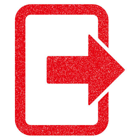 Exit Door grainy textured icon for overlay watermark stamps. Flat symbol with scratched texture. Dotted glyph red ink rubber seal stamp with grunge design on a white background.