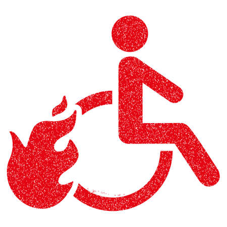 Fired Disabled Person grainy textured icon for overlay watermark stamps. Flat symbol with dust texture. Dotted glyph red ink rubber seal stamp with grunge design on a white background.