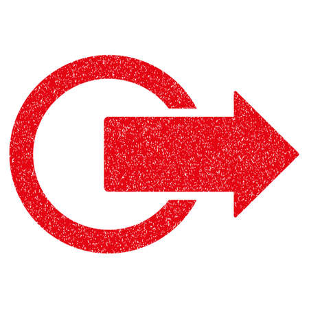 logout: Logout grainy textured icon for overlay watermark stamps. Flat symbol with dust texture. Dotted glyph red ink rubber seal stamp with grunge design on a white background.