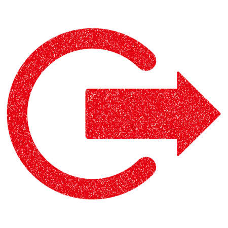 logout: Logout grainy textured icon for overlay watermark stamps. Flat symbol with unclean texture. Dotted glyph red ink rubber seal stamp with grunge design on a white background.