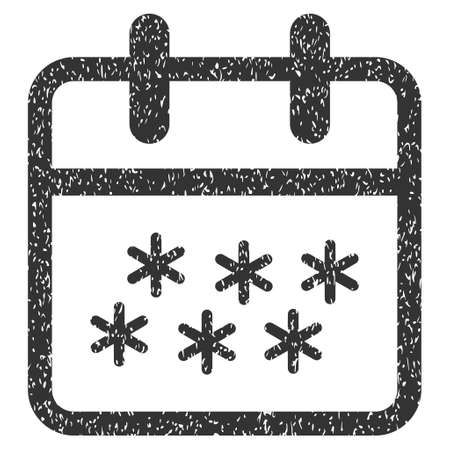 Winter Day grainy textured icon for overlay watermark stamps. Flat symbol with unclean texture. Dotted glyph gray ink rubber seal stamp with grunge design on a white background.