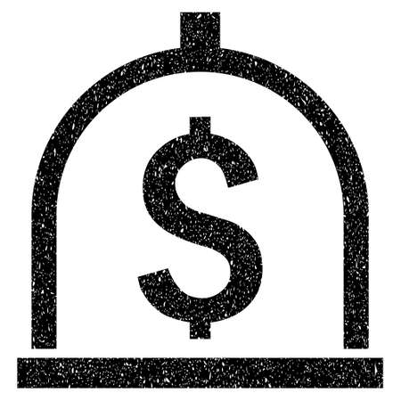 secured property: Dollar Deposit grainy textured icon for overlay watermark stamps. Flat symbol with scratched texture. Dotted vector black ink rubber seal stamp with grunge design on a white background.