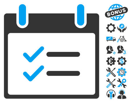 nomenclature: Check Items Calendar Day icon with bonus settings icon set. Glyph illustration style is flat iconic symbols, blue and gray, white background. Stock Photo