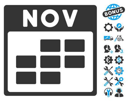 november calendar: November Calendar Grid pictograph with bonus configuration clip art. Glyph illustration style is flat iconic symbols, blue and gray, white background.