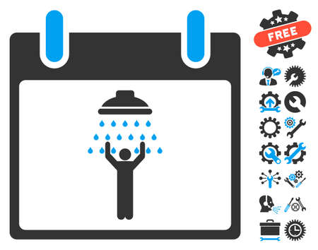 man shower: Man Shower Calendar Day icon with bonus service icon set. Glyph illustration style is flat iconic symbols, blue and gray, white background. Stock Photo