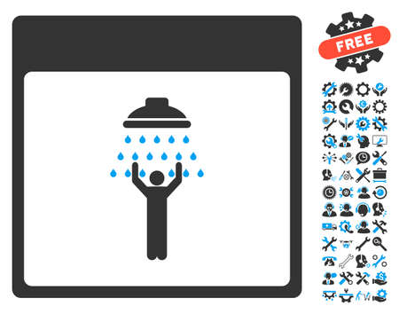 man shower: Man Shower Calendar Page pictograph with bonus service pictograph collection. Glyph illustration style is flat iconic symbols, blue and gray, white background.
