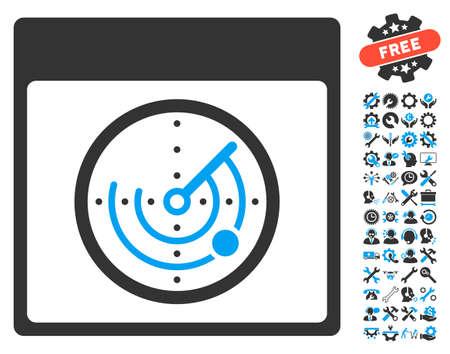 localization: Radar Calendar Page icon with bonus setup tools images. Glyph illustration style is flat iconic symbols, blue and gray, white background. Stock Photo