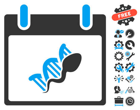replication: Sperm DNA Replication Calendar Day icon with bonus options graphic icons. Glyph illustration style is flat iconic symbols, blue and gray, white background.