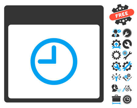 Time Calendar Page icon with bonus service symbols. Glyph illustration style is flat iconic symbols, blue and gray, white background.