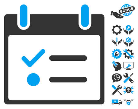 todo list: Todo List Calendar Day icon with bonus tools pictograms. Glyph illustration style is flat iconic symbols, blue and gray, white background.