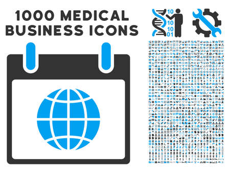 agenda browse: Blue And Gray Globe Calendar Day vector icon with 1000 medical business pictograms. Set style is flat bicolor symbols, blue and gray colors, white background.