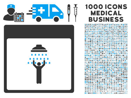 man shower: Blue And Gray Man Shower Calendar Page vector icon with 1000 medical business pictograms. Set style is flat bicolor symbols, blue and gray colors, white background. Illustration