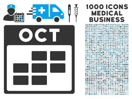 october calendar: Blue And Gray October Calendar Grid vector icon with 1000 medical business pictograms. Set style is flat bicolor symbols, blue and gray colors, white background.