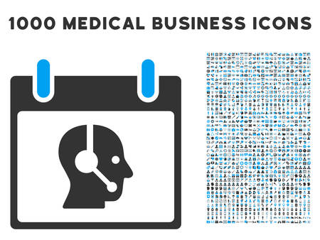 talker: Blue And Gray Operator Calendar Day vector icon with 1000 medical business pictograms. Set style is flat bicolor symbols, blue and gray colors, white background.