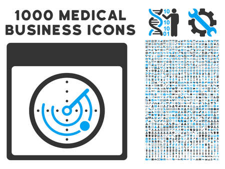 localization: Blue And Gray Radar Calendar Page vector icon with 1000 medical business pictograms. Set style is flat bicolor symbols, blue and gray colors, white background. Illustration
