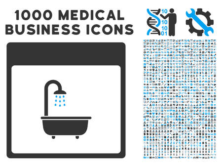 shower bath: Blue And Gray Shower Bath Calendar Page vector icon with 1000 medical business pictograms. Set style is flat bicolor symbols, blue and gray colors, white background.